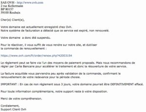 Arnaque - Faux Mail d'OVH